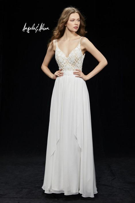 Angela and Alison 81007 Flowing Spaghetti Strap Prom Gown: French ...