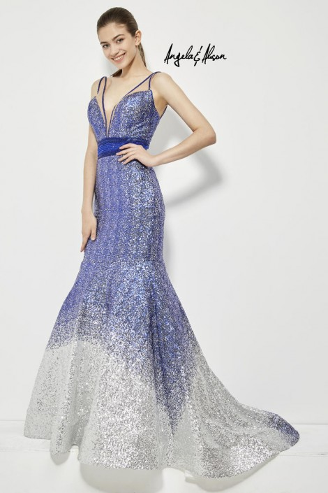 Angela and Alison 81008 Ombre Sequin Prom Gown: French Novelty