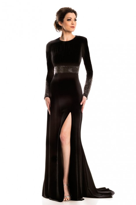 Johnathan Kayne 8101 Long Sleeve Stretch Velvet Gown French Novelty