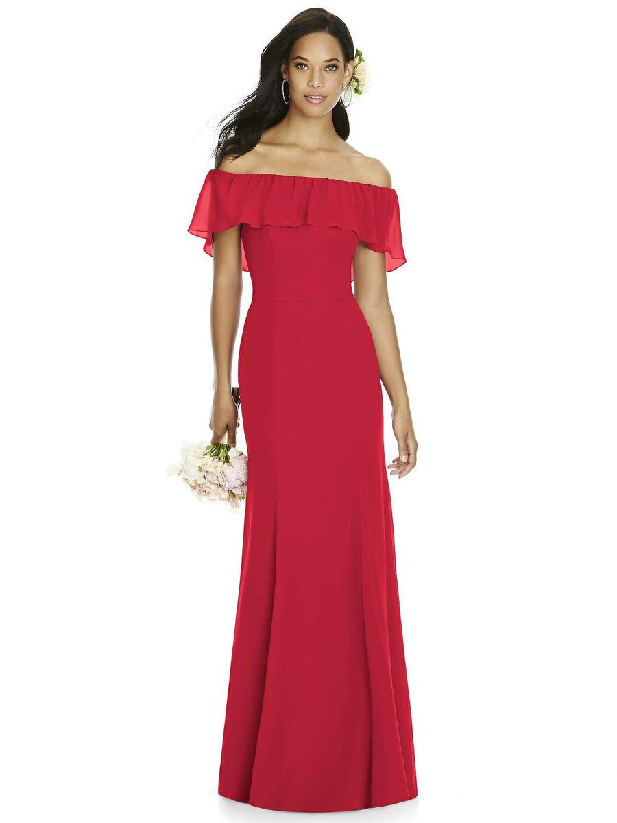 dessy social 8182 off shoulder ruffle bridesmaid dress