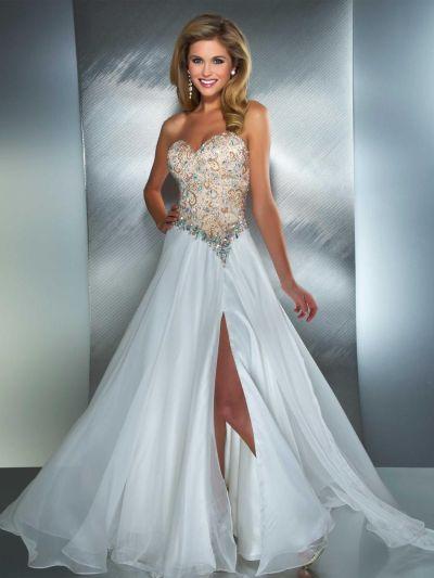 MacDuggal 81838M Beaded Bodice Dress with Flowy Skirt: French Novelty