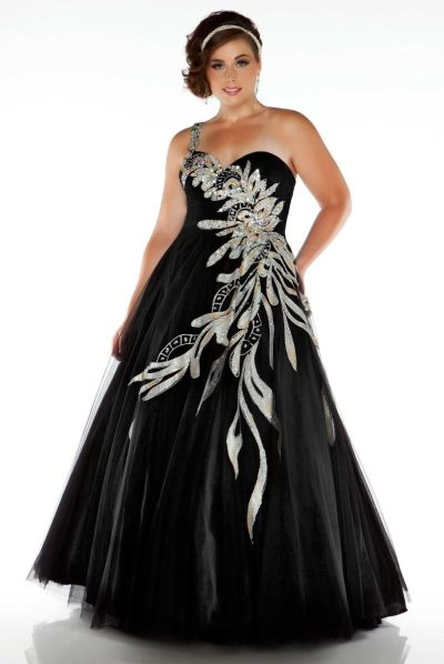 Fabulouss 81851F by Mac Duggal One Strap Plus Size Ball Gown