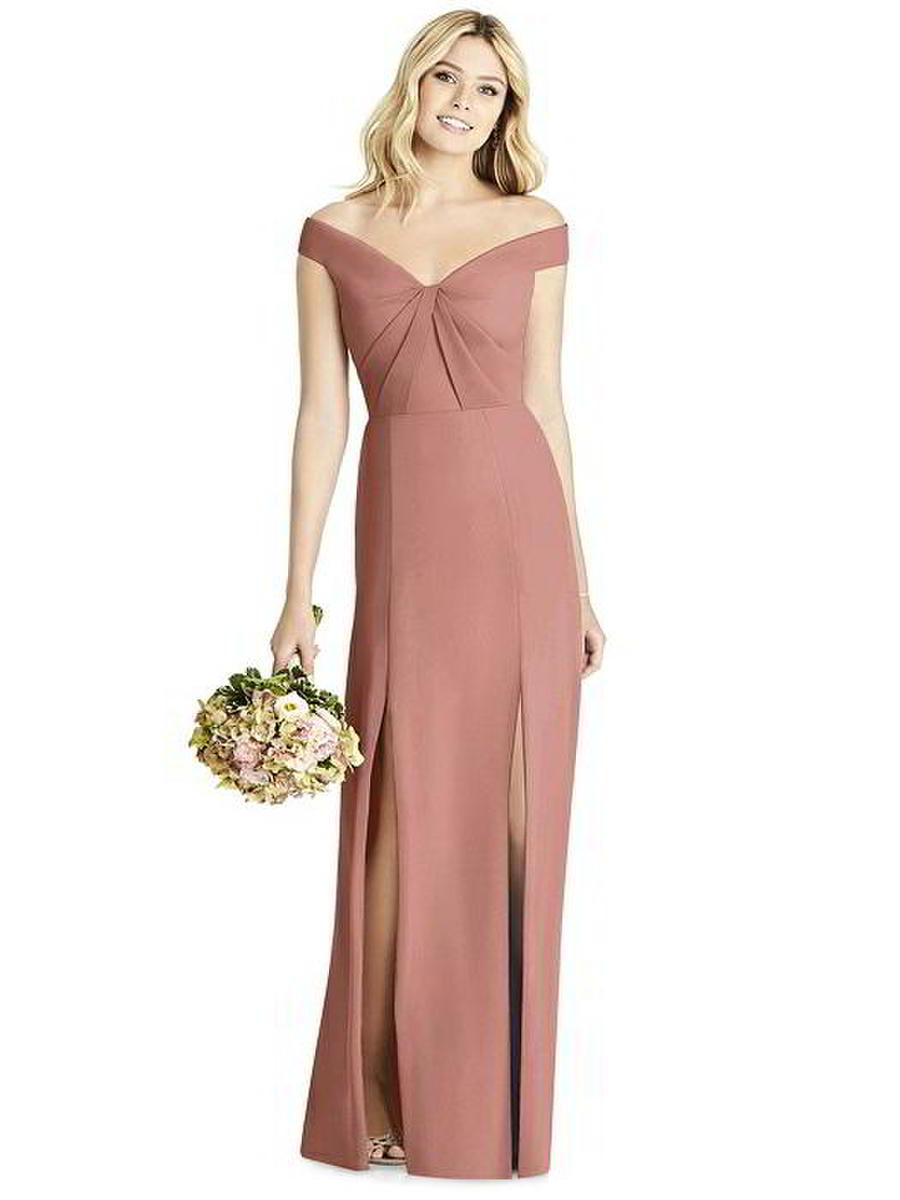 Dessy Social 8186 Off Shoulder Bridesmaid Dress: French Novelty