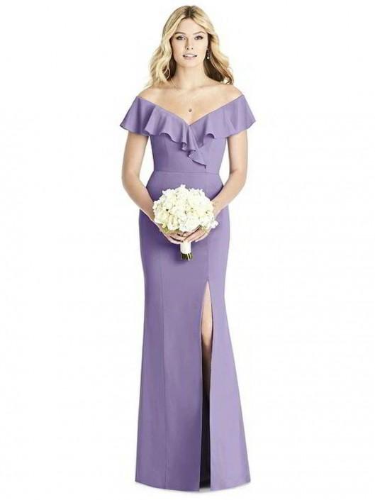 60db80f552 Dessy Social 8190 Ruffle V Neck Bridesmaid Dress  French Novelty