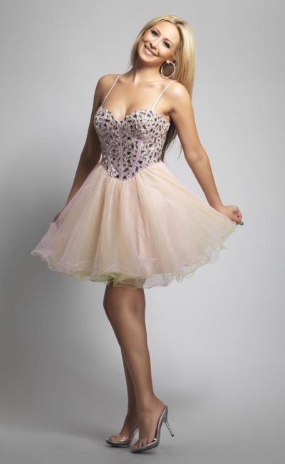 Dave And Johnny 8201 Beaded Corset Short Party Dress