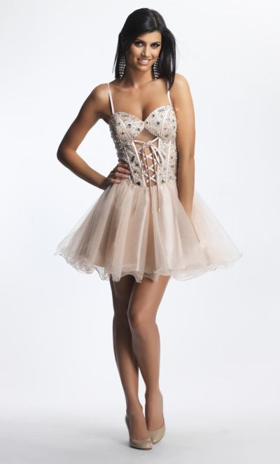 Dave and Johnny 8342 Beaded Lace-Up Corset Short Dress: French Novelty