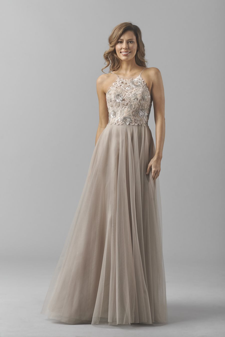 Watters 8356i Sequin Lace Halter Bridesmaid Gown French