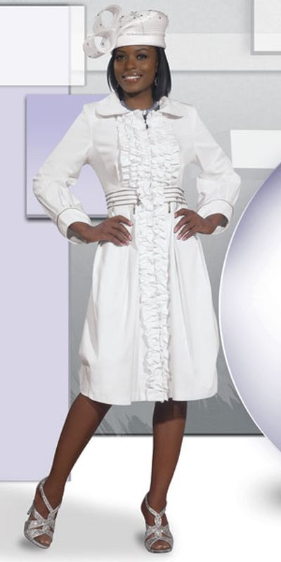 DV Jeans 8391 Womens White Church Dress with Ruffle: French Novelty