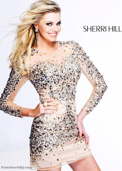 Sherri Hill Long Sleeve Sequin Illusion Cocktail Dress 8421  French Novelty 3dfd621d3