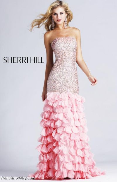 Sherri Hill Long Beaded Prom Dress with Ruffles 8434: French Novelty