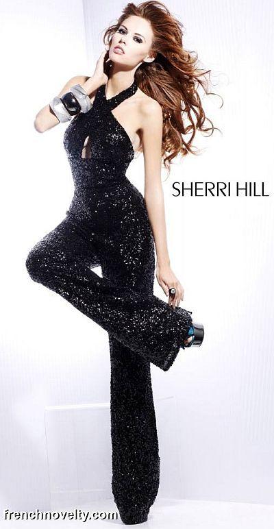 Sherri Hill 8450 Black Sequin Jumpsuit French Novelty
