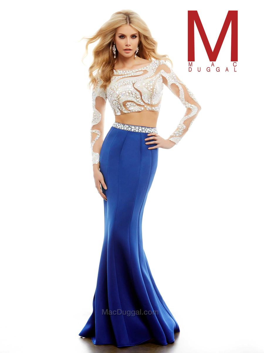 642f1a78d4831 Cassandra Stone by Mac Duggal 85474A Long Sleeve 2pc Gown: French Novelty