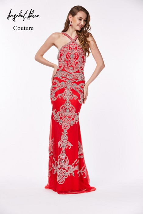 Angela and Alison Couture 861120 Beaded Pageant Gown: French Novelty