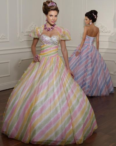 Vizcaya Sparkle Tulle Rainbow Quinceanera Dress By Mori