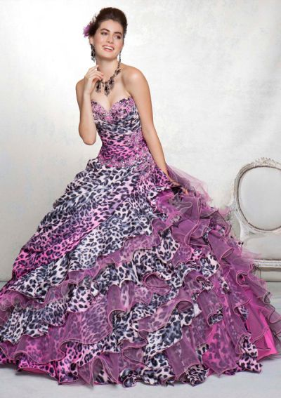 Vizcaya 88044 Animal Print Quinceanera Dress By Mori Lee