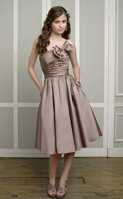 Mori lee affairs short taffeta bridesmaid dress with bow for Mori lee taffeta wedding dress