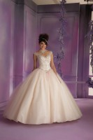 Size 4 Pink-Mint Vizcaya 89006 Layered Tulle Quinceanera Dress image