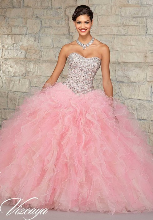 20c15ed7db72 Vizcaya 89021 Ruffle Tulle Quinceanera Dress: French Novelty