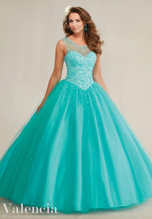 707ceca2f Valencia 89081 Beaded Illusion Quinceanera Dress  French Novelty