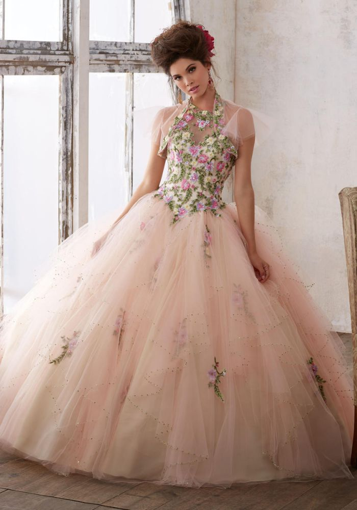 Vizcaya 89124 Floral High Neck Quinceanera Dress French