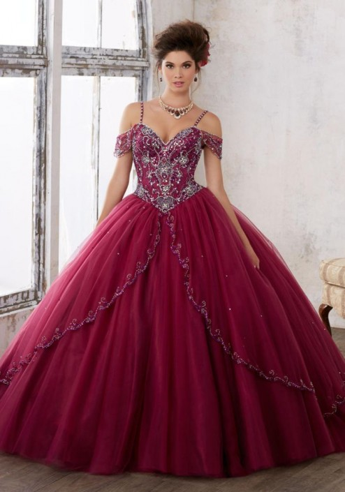 Size 6 Black Cherry Vizcaya 89135 Off The Shoulder Ball Gown French