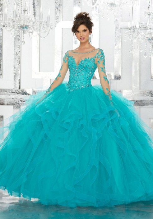 Vizcaya 89142 Sheer Long Sleeve Quinceanera Ball Gown: French Novelty