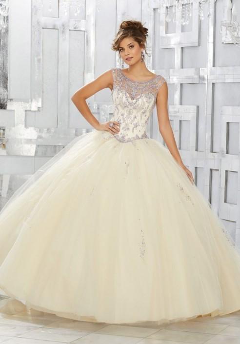 Vizcaya 89150 Jewel Beaded Cap Sleeve Quinceanera Dress: French Novelty