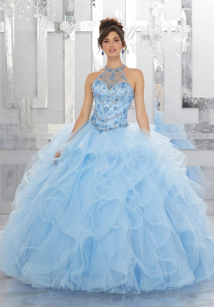 Vizcaya 89154 High Neck Crystal Quinceanera Dress With