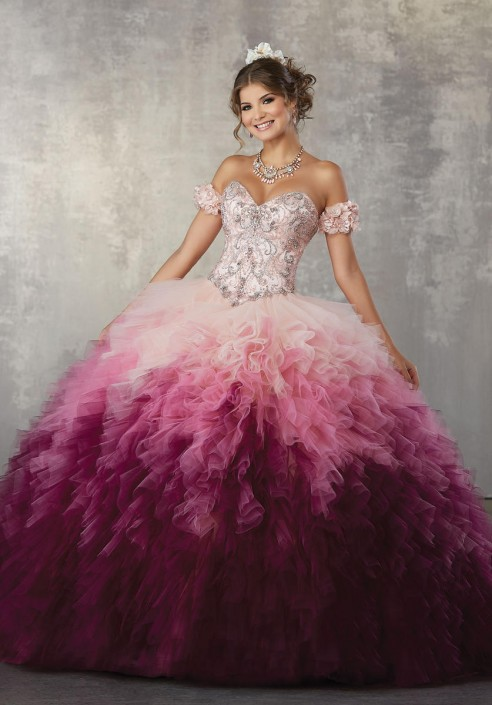 e2b6f04eec16 Vizcaya 89161 Ruffled Ombre Tulle Quinceanera Dress: French Novelty