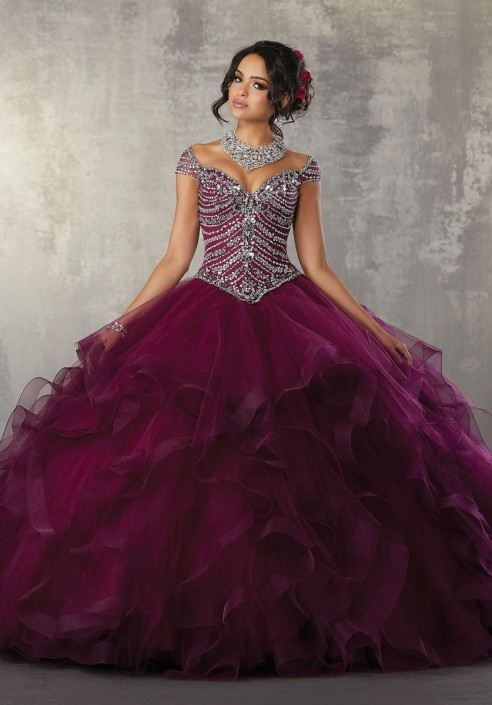 909d1180c Vizcaya 89162 Crystal Flounced Quinceanera Dress  French Novelty