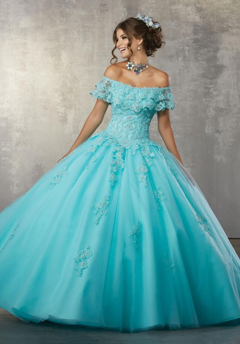 3243523b903 Vizcaya 89168 Off Shoulder Flounced Quince Dress  French Novelty