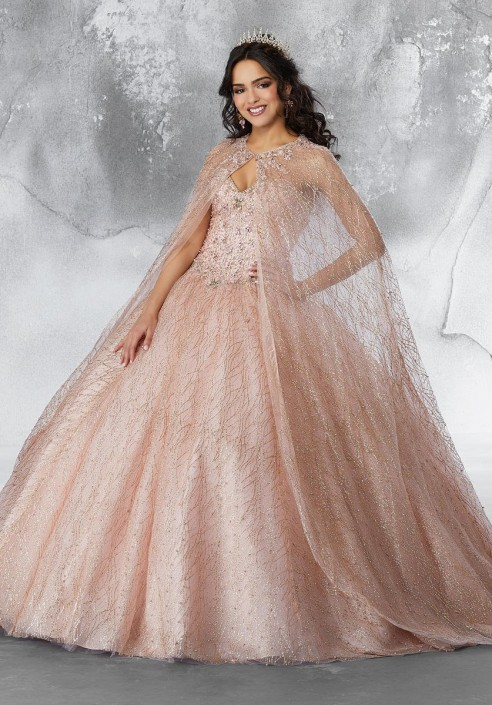 Size 4 Rose Gold Vizcaya 89199 Glitter Quinceanera Dress
