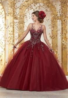 ad63c7eec Vizcaya 89222 Flounced Off Shoulder Quinceanera Dress.  850.00. Vizcaya  89223 Sheer Crystal Beaded Quinceanera Dress