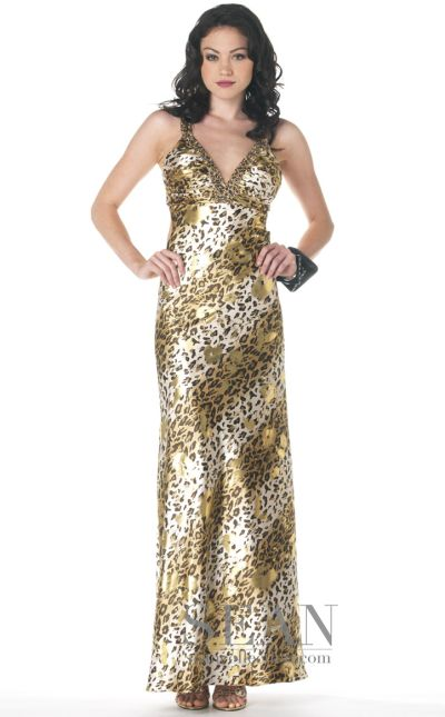 dcd05aba0d6 Sean Express Gold Animal Print Prom Dress 8961 French Novelty