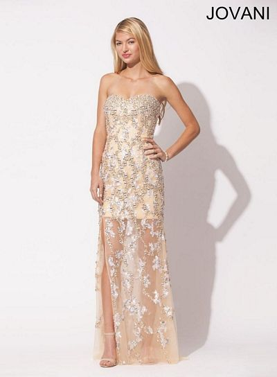 Jovani 89998 Formal Dress With Sheer Bottom French Novelty