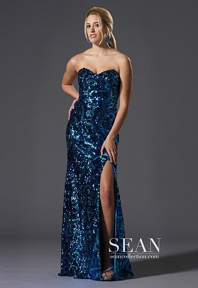 sean express royal green sequin prom dress 90047 french