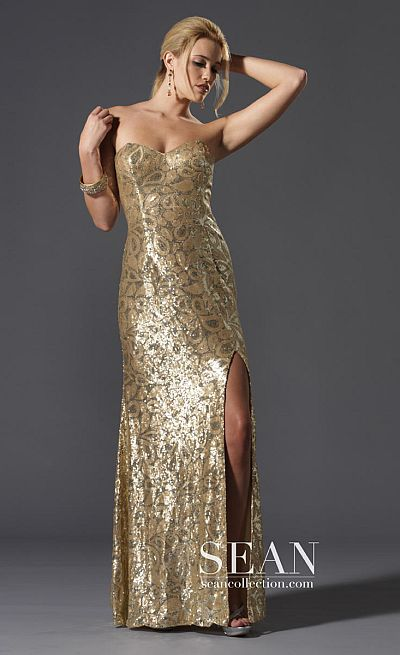 3c9badfb5b7 Sean Express Sweetheart Fully Sequin Prom Dress 90049 French Novelty