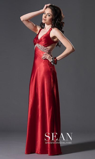 3a5e6ea5c94 Sean Express Open Back Prom Dress with Detailed Train 90054  French Novelty