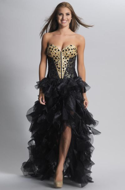 Dave And Johnny 9006 High Low Beaded Corset Dress French Novelty