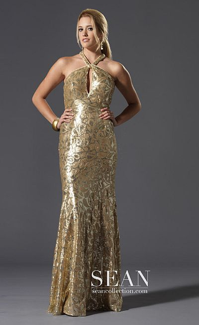 Sean Express Gold Beaded Prom Dress with Keyhole 90063: French Novelty