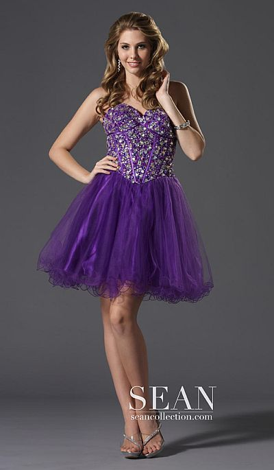 Sean express violet cocktail prom dress with detail for Cocktail express