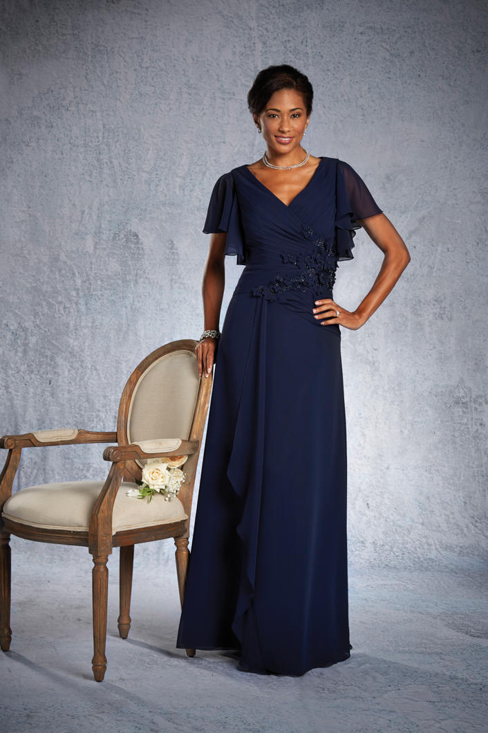 Alfred Angelo 9023 Draped Sleeve Gown French Novelty