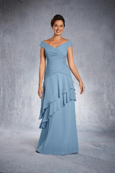 Alfred Angelo 9026 Beaded Asymmetrical Gown: French Novelty