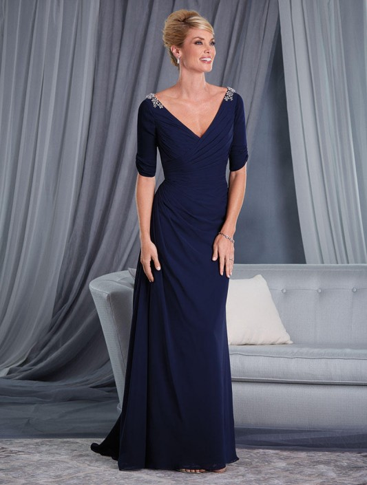 Alfred Angelo 9032 Elbow Sleeve Mothers Gown: French Novelty