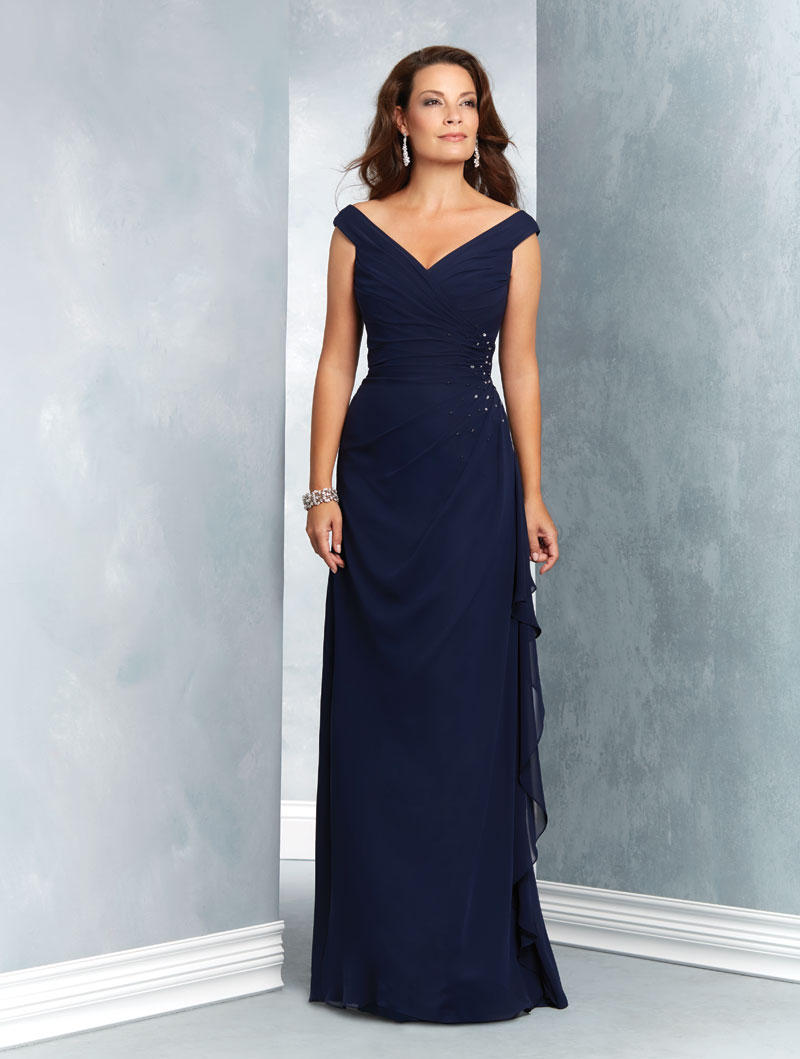 Alfred Angelo 9047 Off Shoulder Mothers Gown: French Novelty