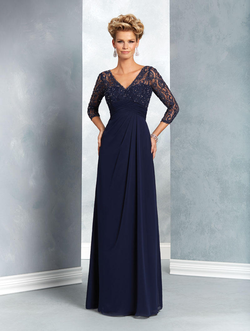 Alfred Angelo 9053 MOB Gown with Sheer Sleeves: French Novelty