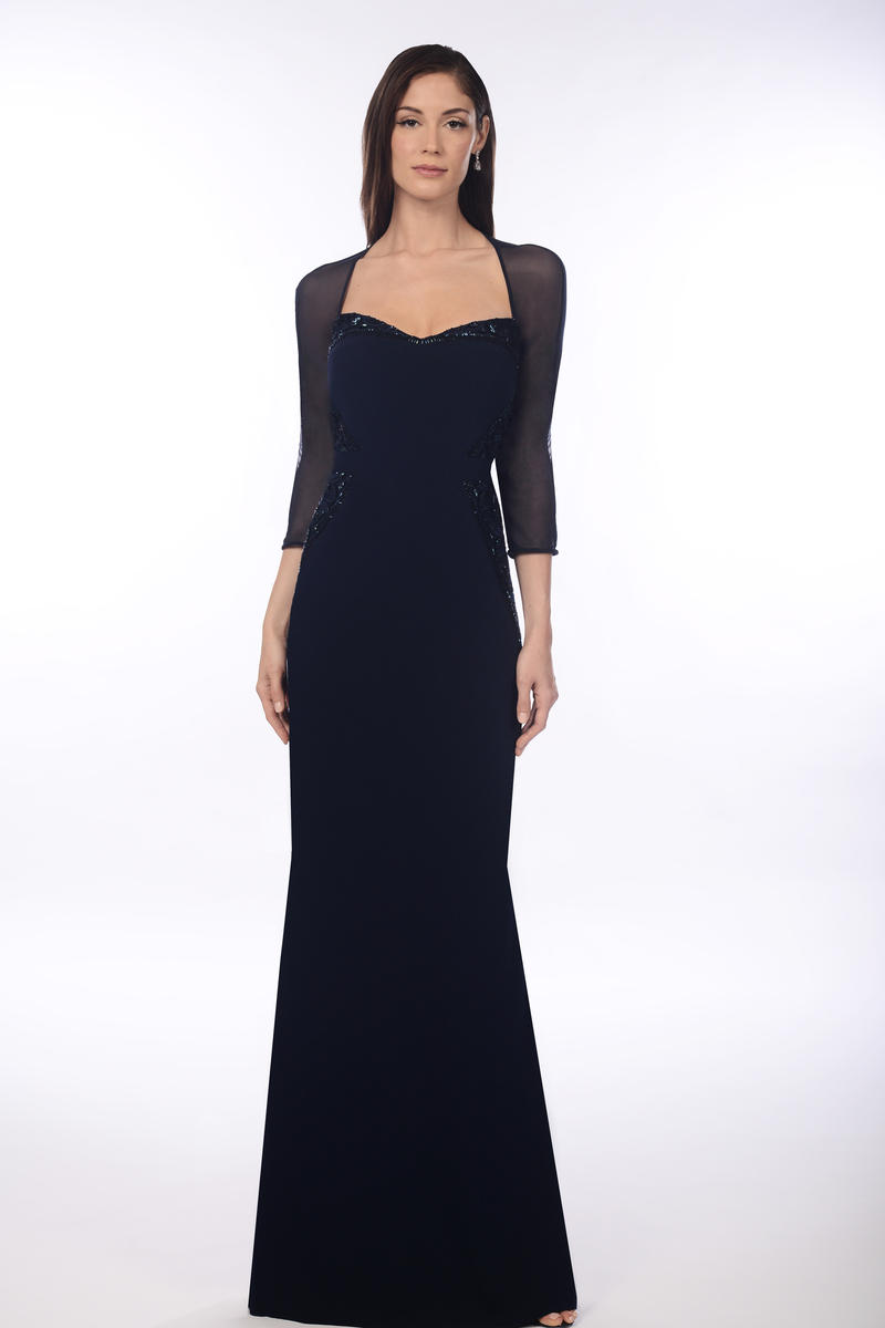Daymor couture 907 sheer sleeve mob gown french novelty for Wedding dresses on harwin in houston texas