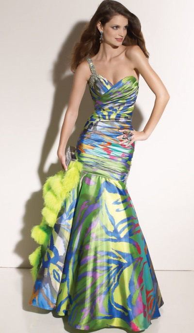 d56ce756217d Paparazzi One Shoulder Print Mermaid Prom Dress 91007 by Mori Lee: French  Novelty