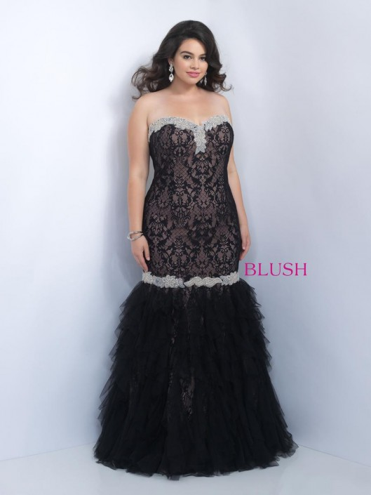 Blush Too 9102W Plus Size Mermaid Gown with Lace: French Novelty