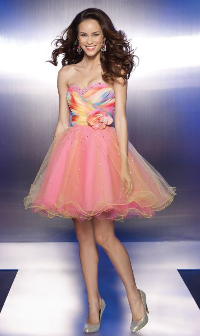 Sticks and Stones Tie Dye Print Tulle Short Prom Dress 9103 ...